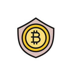 bitcoin coin with shield protection blockchain vector image