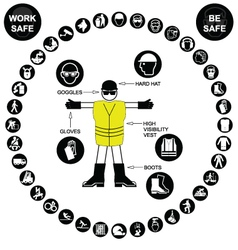 Black circular Health and Safety Icon collection vector image