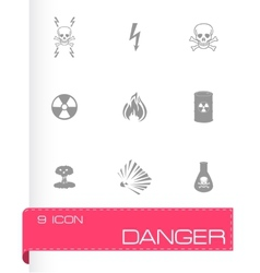 black danger icons set vector image