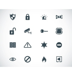 Black security icons set vector
