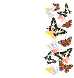 Border realistic swallowtail butterflies and vector
