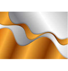 Bronze and silver abstract metallic waves vector