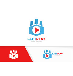 button play and factory logo combination vector image