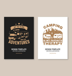 camping is my favorite therapy posters banners vector image