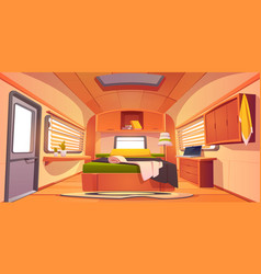 Camping rv trailer car interior with unmade bed vector