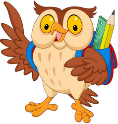 Cartoon owl with backpack vector