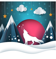 cartoon paper landscape wolf merry vector image