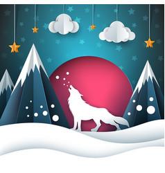 Cartoon paper landscape wolf merry vector
