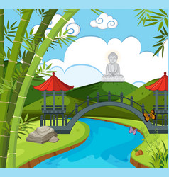Chinese temple with river and buddha figure vector