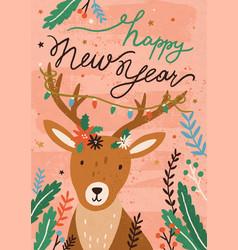 christmas postcard with cute deer and mistletoe vector image