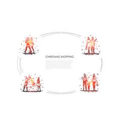 christmas shopping - people walking vector image