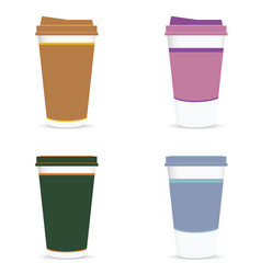 Coffee paper glass colored set vector