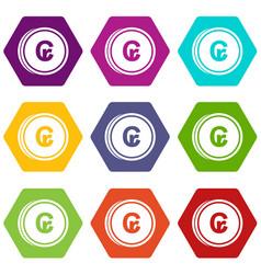Coins cruzeiro icon set color hexahedron vector