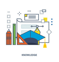 Concept of knowledge and online education vector