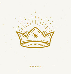 crown simple linear design for logo or icon vector image