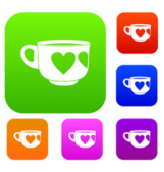 cup set color collection vector image