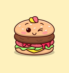 Cute burger smiling wearing a hat in cartoon style vector