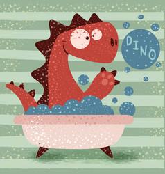 cute dino wash in bathroom vector image