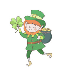 cute young leprechaun in green clothes with a pot vector image