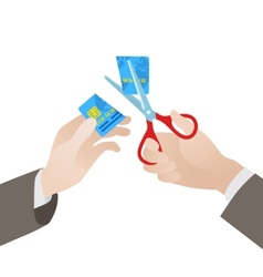 Cutting of the blue credit card in half by vector image