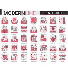 Dental care medicine complex concept flat line vector