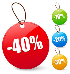 discount tags with 40 10 20 30 percents vector image