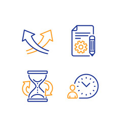 Documentation hourglass and intersection arrows vector