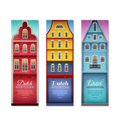 Dutch houses travel vertical banners vector