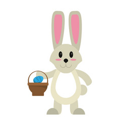 Easter bunny with basket egg vector