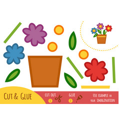 education paper game for children flowers in a pot vector image