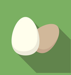 egg icon flat on green background vector image