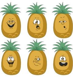 Emotion cartoon pineapple set 012 vector image