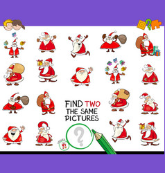 Find two the same pictures game with santa vector