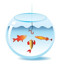 Fishing in fishbowl vector