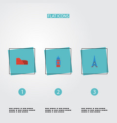 Flat icons coliseum london paris and other vector