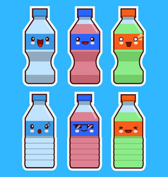 funny bottle of water and soda kawaii face set vector image