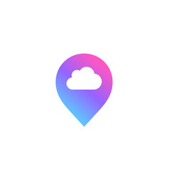 Geotag with cloud or location pin logo icon design vector