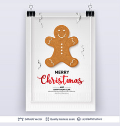 Gingerbread man cookie and text on light banner vector