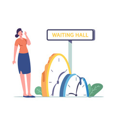Girl tired waiting long wait concept tiny vector