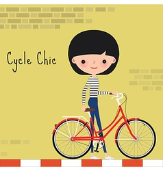 Girl with bicycle in the city vector image