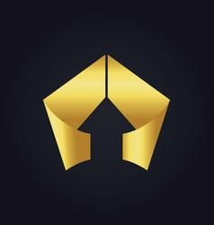 gold arrow triangle shape ribbon logo vector image