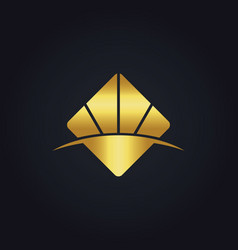 Gold business square abstract logo vector