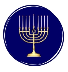 Golden Menorah with Candles vector