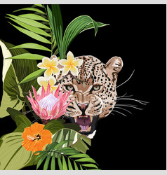 graceful leopard and tropical flowers and palm vector image