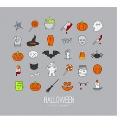 Halloween flat icons grey vector image