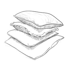 Hand drawn sketch of pillows vector