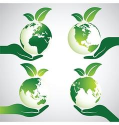 Hand earth 2 vector