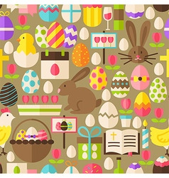 Happy Easter Flat Design Brown Seamless Pattern vector image