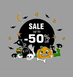 happy halloween sale message design vector image