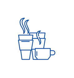hot drinks line icon concept hot drinks flat vector image